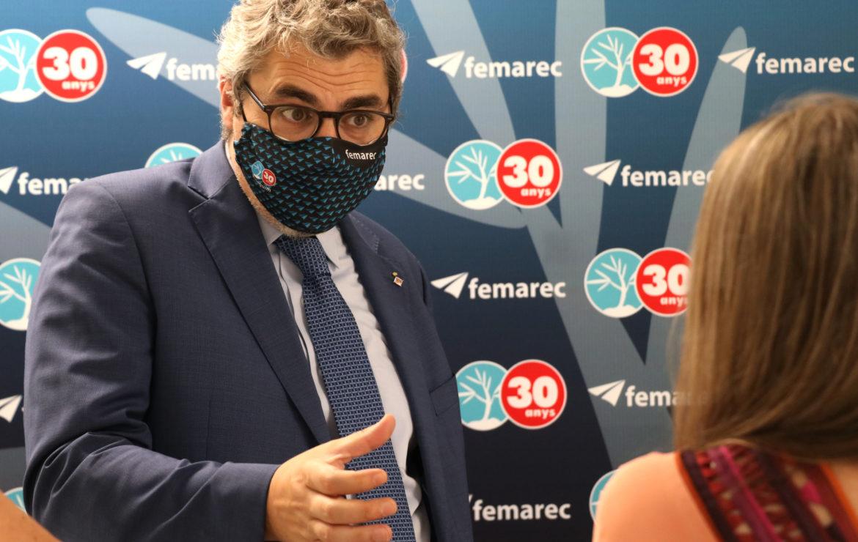 Joan Ramon Riera, President de l'Institut Municipal de Persones amb Discapacitat, visita Femarec